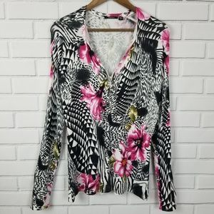 Mosca Large Long Sleeve Floral Pattern Blouse